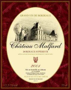 Chateau malfard prix rouge 2001